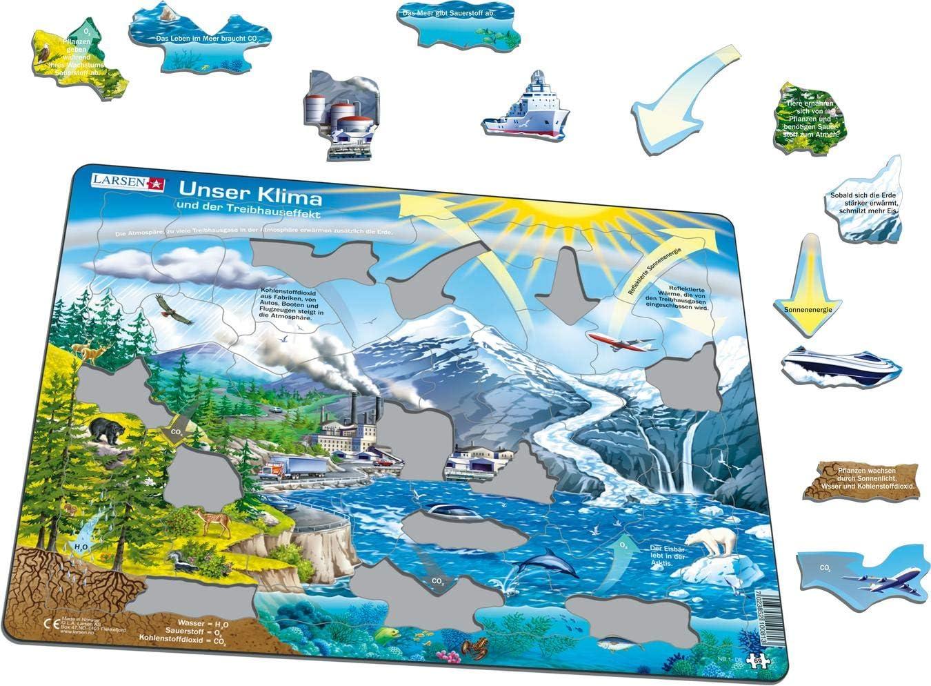 Puzzle Cadre avec de 69 pi/èces /édition Allemand Larsen NB1 Notre Climat et leffet de Serre