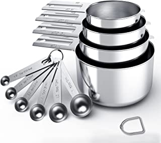Stainless Steel Measuring Cups & Spoons Set, Cups and Spoons,Kitchen Gadgets for Cooking & Baking (10 Pieces)