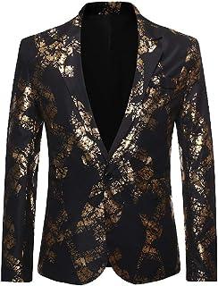 Men Wedding Bronzing One Button Classic Flower Print Blazer Outerwear