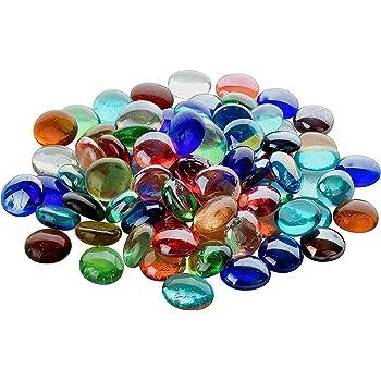 ZJW Assortiment de Couleurs d/écoratives Multicolores en Verre Caillou Perle Nuggets de Perles pour Les remplisseurs de Vase d/écoration de f/ête d/écor daquarium d/écoration de Table de Mariage