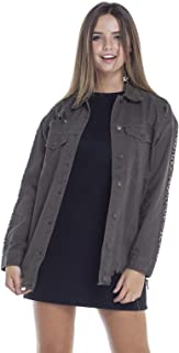 Jaqueta Jeans Feminina Oversize Musgo com Listra Onça Denim Zero - DZ9095