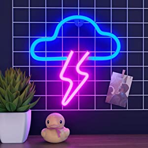 ifreelife Neon Signs, Cloud Lights Lightning Bolt Neon Sign Room Decor Aesthetic Cloud Night Light for Bedroom LED Cloud Lightning Neon Light for Art Wall Decor, Home Décor, Bar, Teenage Girl Gift