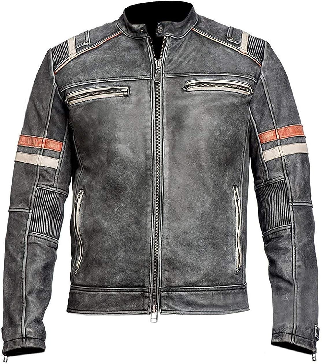 Vintage Cafe Racer Retro Motorcycle Distressed Biker Leather Jacket | Leather Jackets for Men | Motorcycle Leather Jacket Men
