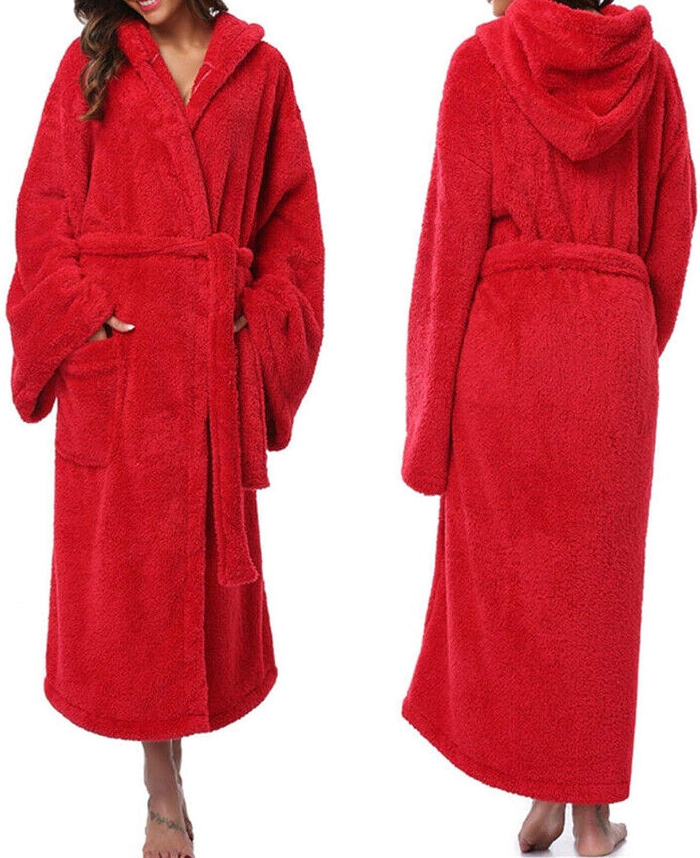 HYSJLS Coral Terciopelo Albornoz Mujer Invierno Cálido Cubierto Capucha Robana Franela Kimono Baño Robe Bata Vestidos Sleepwear Ropa de Dormir Campo de Dormir Suave Hombres (Color : Rojo, Size : XXL)