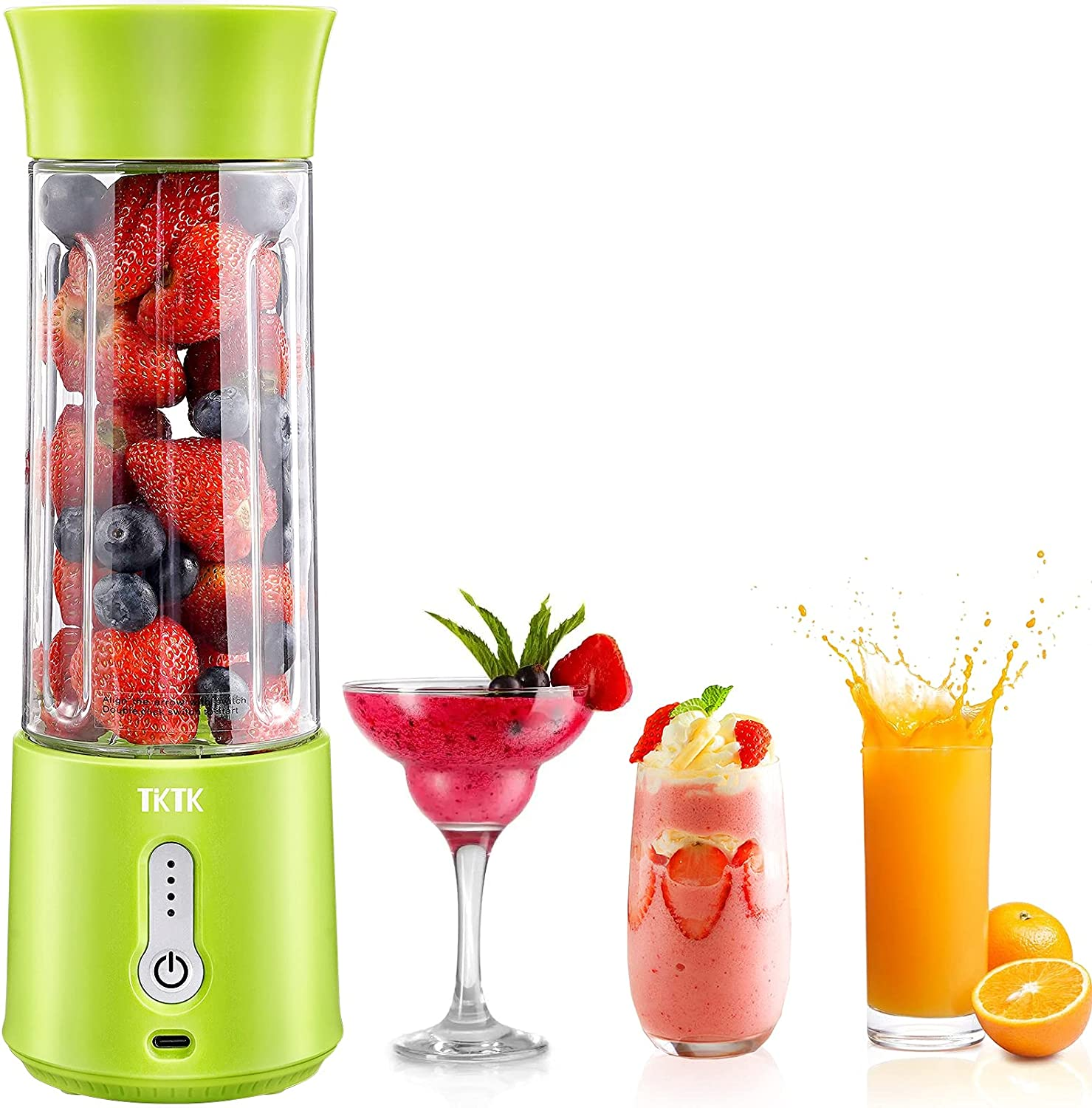Portable Blender, TKTK 18 Oz Personal Blender for Shakes and Smoothies, 150W Powerful Smoothie Blender with Rechargeable USB, Sharp 6 Blades, BPA-Free Food Grade for Travel, Office