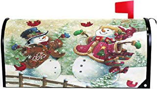 Wamika Winter Snowman Snowflake Cardinal Bird Mailbox Cover Magnetic Standard Size,Merry Christmas Tree Letter Post Box Cover Wrap Decoration Welcome Home Garden Outdoor 21