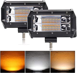 LED Light Bar Milight 5 inch Off-Road lights Flood Dual Color Led Pods Strobe Lights Flash Lights Driving Fog Lamps Amber White Led Light Bar for SUV ATV Jeep Truck Boat Ford Garden Lighting