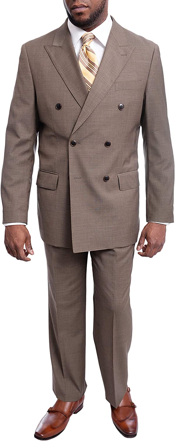 Arthur Black Men's Classic Fit Double Breasted Pleated Wool Suit
