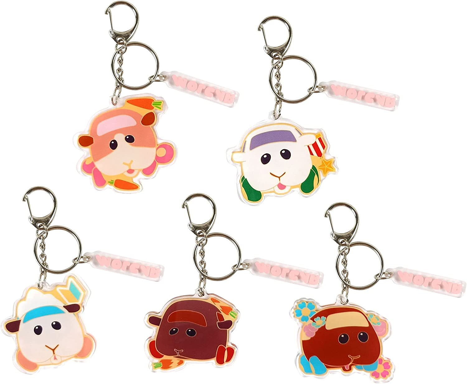 Cartoon Pui Pui Molcar Key Chain Set, Guinea Pig Key Ring, Cute Acrylic Keyring for Bag, Backpack, Gifts for Anime Fans