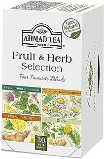 Ahmad Tea Fruit & Herb Selection Wellness & Detox Blends, 20 Foil Teabags (Pack Of 6)