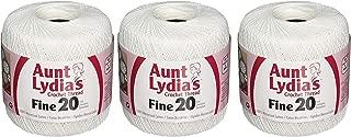 Coats Crochet Aunt Lydia's Crochet, Cotton Fine Size 20, White (3 Pack)