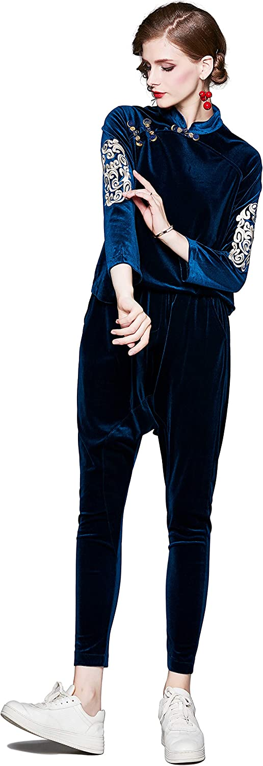 Women's Embroidered Sweatsuit Set 返品交換不可 2 Pullover Sport T Suits 評価 Piece