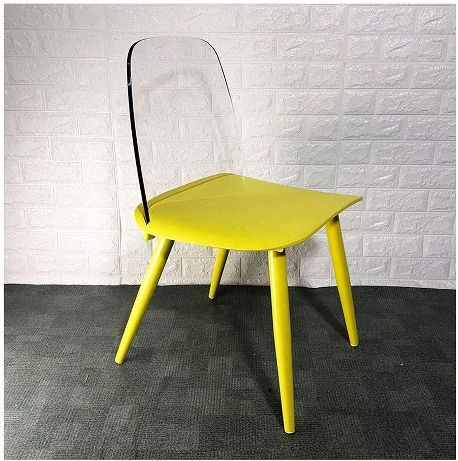Modern Minimalist Home Acrylic Dining Chair Makeup Stool Creative Backrest Desk Chair Sitting Height 45cm LEBAO (color   Yellow)