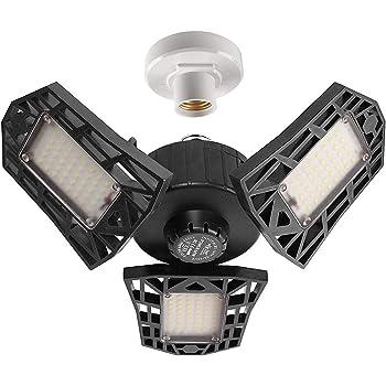 2-Pack Garage Lights 60W LED Garage Lighting - 6000LM 6500K LED Three-Leaf Garage Ceiling Light Fixtures, LED Shop Light with Adjustable Multi-Position Panels, LED Glow Light for Garage, Workshop