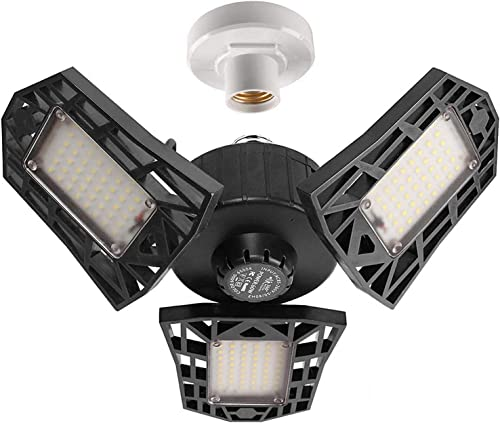 2-Pack Garage Lights 60W LED Garage Lighting - 6000LM 6500K LED Three-Leaf Garage Ceiling Light Fixtures, LED Shop Li...