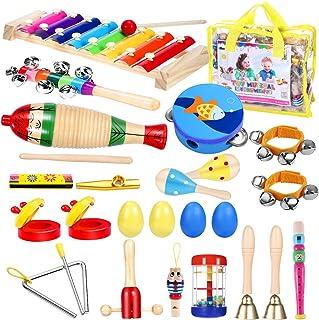 ابزارهای موسیقی نوک تیز - iBaseToy 23Pcs 16 تیپ ابزارهای سازهای چوبی Tambourine اسباب بازی های زایلوفون برای کودکان و نوجوانان آموزش پیش دبستانی، اسباب بازی های آموزشی اساسی برای پسران دختران با کیسه ذخیره سازی