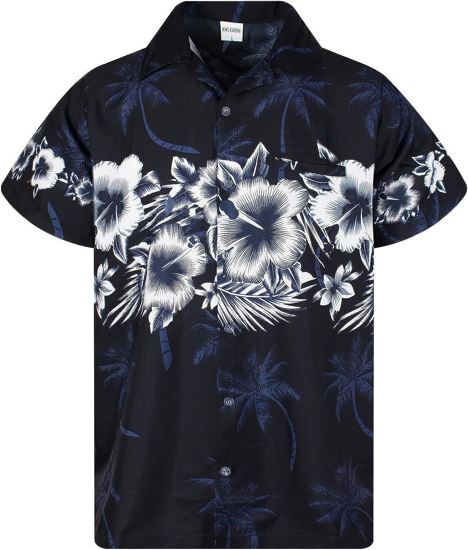 KING KAMEHA Hawaiian Shirt for Men Funky Casual Button Down Very Loud Shortsleeve Unisex Flower Chest Border Print