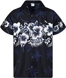 Hawaiian Shirt for Men Funky Casual Button Down Very Loud Shortsleeve Unisex Flower Chest Border Print