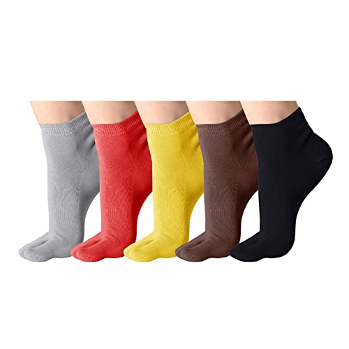 afa5c81f97410 Classic Soft Elastic Flip Flop Tabi Toe Socks 5 Pairs Multicolour