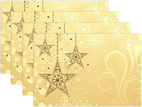U LIFE Merry Christmas Stars Plate Place Mats Placemats Placemat Tray Mat 12 x 18 Inch