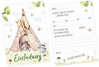 5 inbjudningskort tipi tält djurfreund inklusive 5 transparenta kuvert – barnkalas indisk pojke djur akvarell