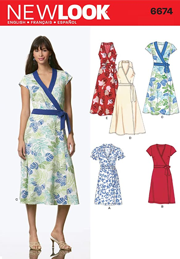 New Look Sewing Pattern 6674 Misses Dresses, Size A (10-12-14-16-18-20-22)
