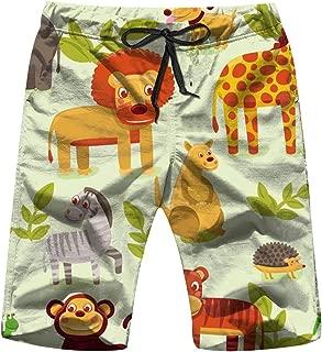 Cartoon Animals Wildlife Animal Mens Beach Pants 3D Printed Casual Fashion Adjustable Beach Board Shorts