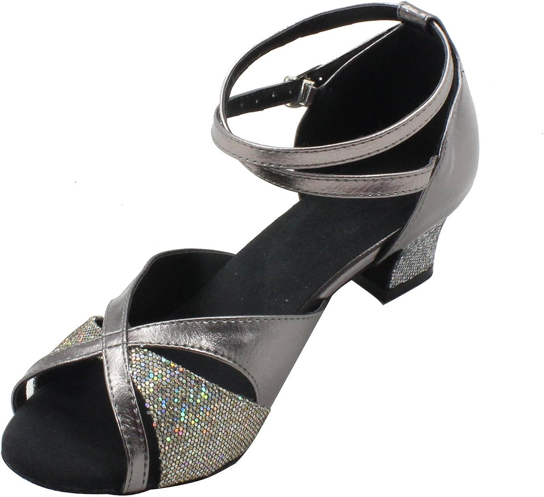 MsMushroom Woman's PU Shinning Wedding Dance shoes Grey 1 1 2  Heel