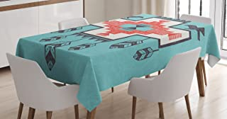 Ambesonne Tribal Tablecloth, Hand Drawn Dreamcathcher Folkloric Birds Image, Dining Room Kitchen Rectangular Table Cover, 52