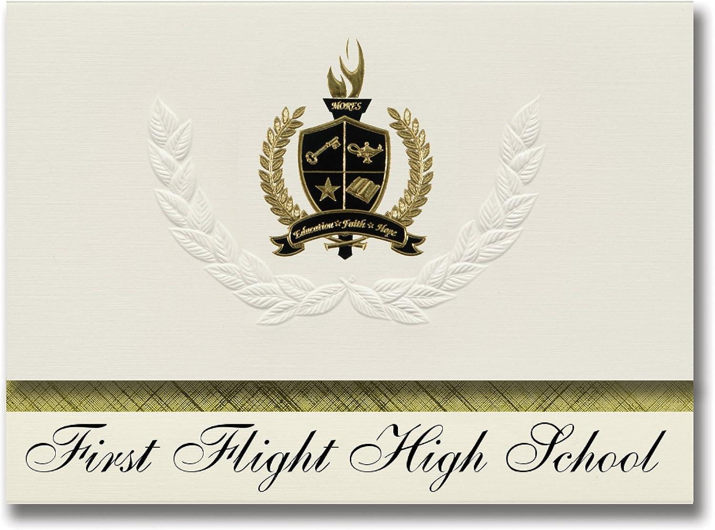 Signature Ankündigungen First Flight High School (Kill Devil Hills, NC) Graduation Ankündigungen, Presidential Stil, Elite Paket 25 Stück mit Gold & Schwarz Metallic Folie Dichtung B078VCGBY3   | Vielfalt