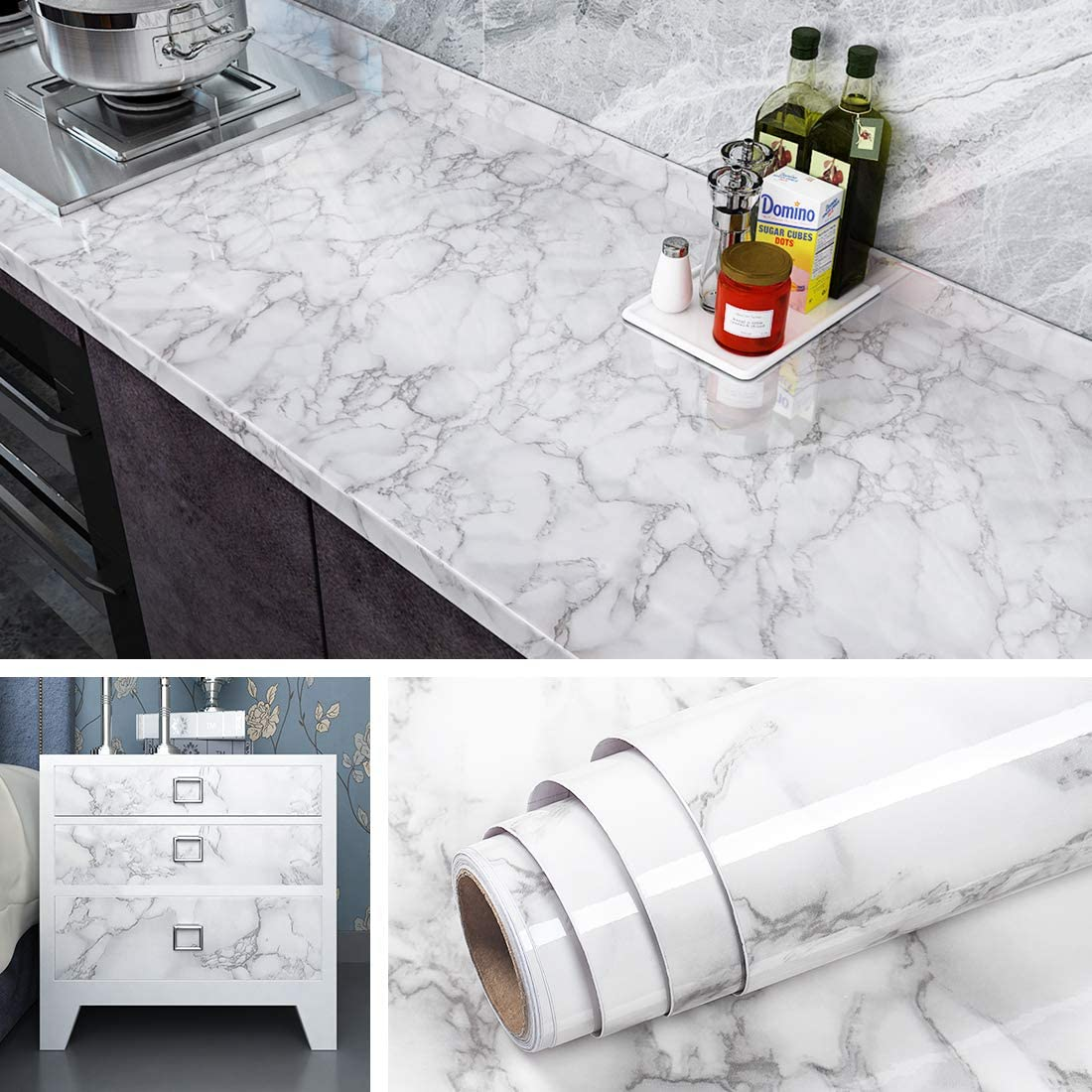 Livelynine Marble Wallpaper Peel And Stick Countertops For Kitchen Waterproof Vinyl Countertop Contact Paper For Desk Cover Dresser Top Counter Top Covering Table Sticker 15 8x78 8 Inch Amazon Com