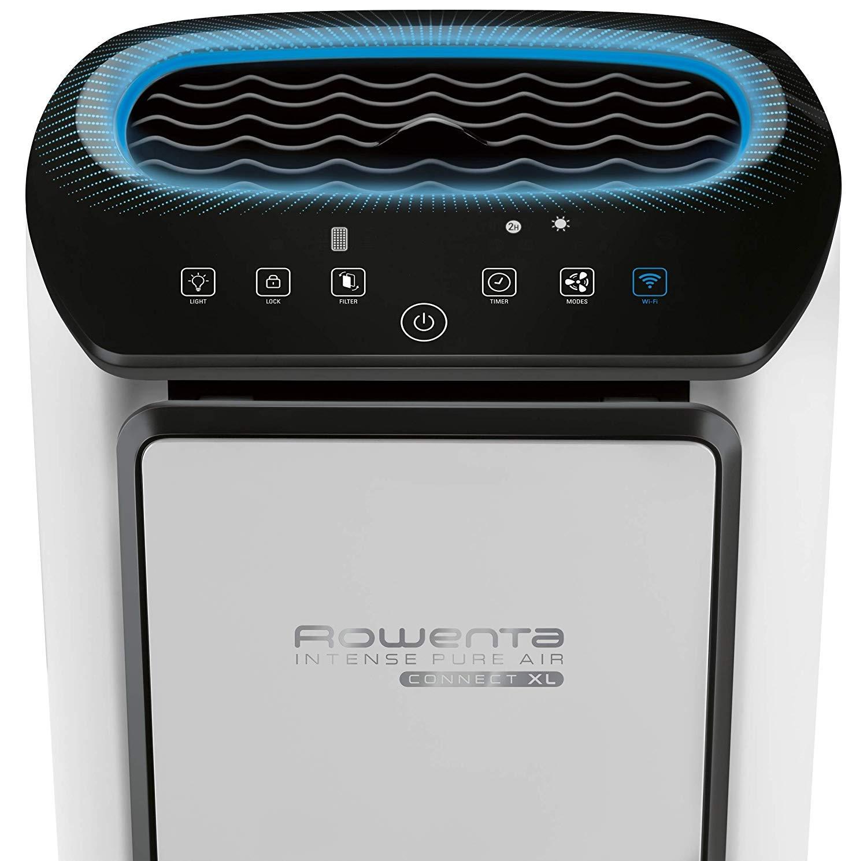 Rowenta Purificador de aire con control de aplicación, hasta 140 m2, 360 m3/h CADR de potencia de aire, 4 niveles de filtro, filtro de carbón activo, PU6080 80W, 230V ...