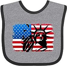 Inktastic Liberty Flag Baby Bib Heather and Black