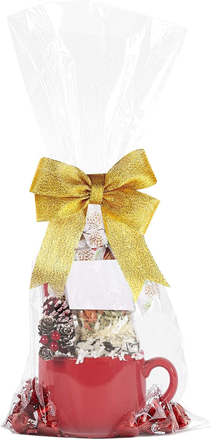 Cellophane Bags 10x20 Inches,20 Pcs Cellophane Gift Bags for Small Baskets, Mugs and Gifts : Health & Household