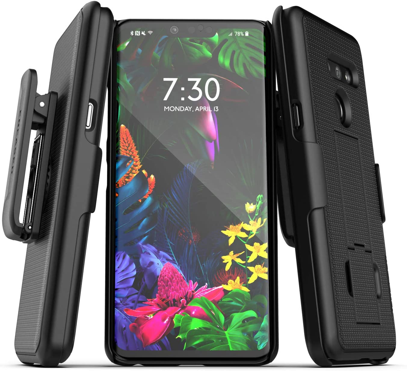 Encased Belt Clip Case Compatible with LG G8 ThinQ (2019 DuraClip) Slim Grip Cover w/Holster (Black)