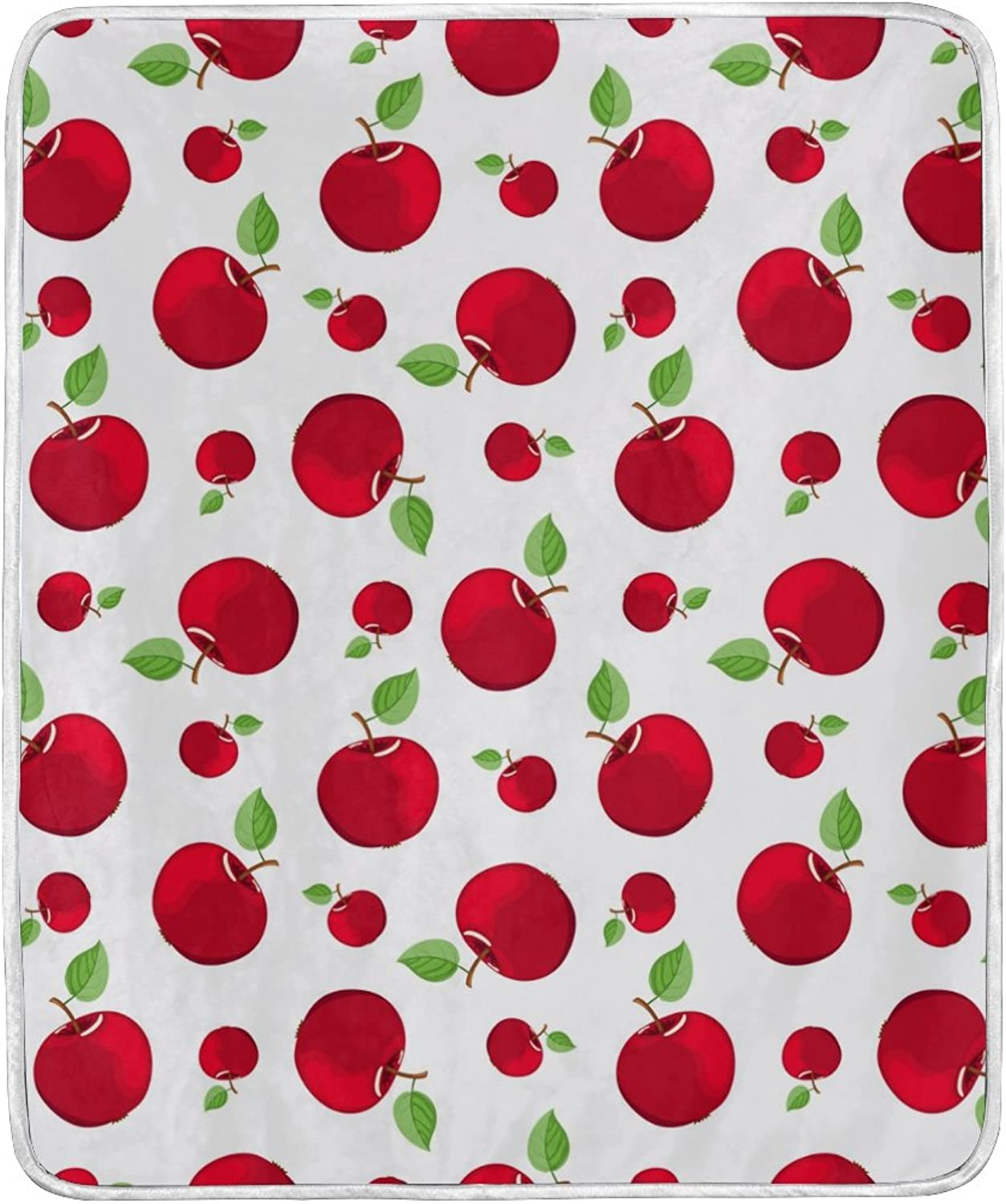 ALIREA Red Apple Pattern Super Soft Warm Blanket Lightweight Throw Blankets for Bed Couch Sofa Travelling Camping 60 x 50 Inch for Kids Boys Girls