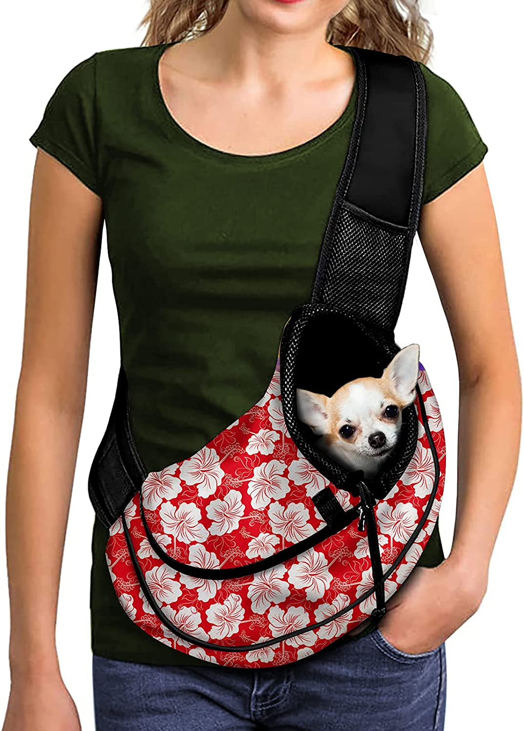 FUSURIRE Hibiscus Flower Spring new work Front Max 65% OFF Sling Hawaii Style Carrier Puppy