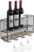 HTTJJ Floating Wine Rack Shelf Set of Wall Mounted Metal Wine Rack Bottle Glass Holder with Long Handle Elegant Storage fo...