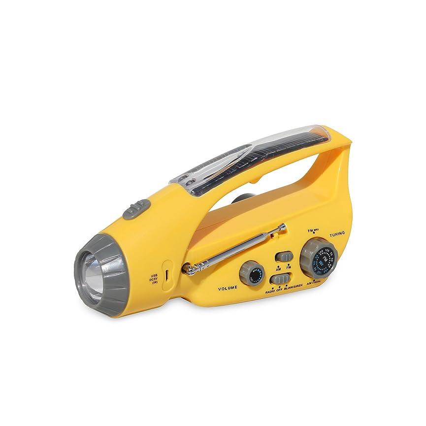 防災 ラジオ 手回し充電対応 FM/AM対応 ポータブルラジオ ラジオ 防災 懐中電灯 LEDライト ソーラー発電