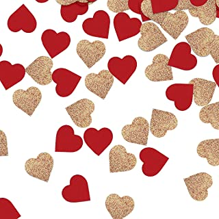 NICROLANDEE Bridal Shower Rose Gold Party Confetti Red Suede Heart Shaped Table Confetti for Wedding Valentine's Day Hen Night Party 1 Inch 50 Grams/Bag (Red)