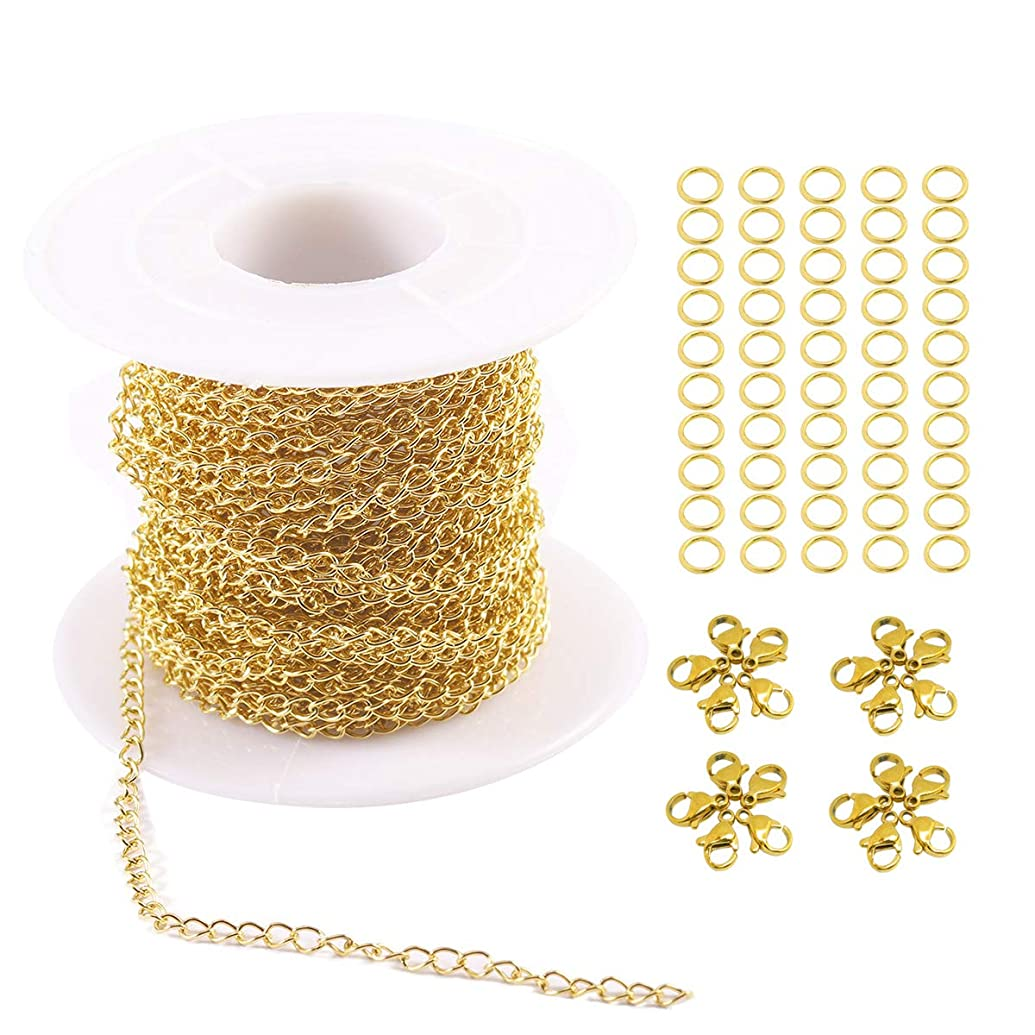Tiparts 33FT 18K Gold Plated Cable Chains Stainless Steel Extender Chains Link Necklace Bulk for Jewelry Making with with 20 Lobster Clasps and 50 Jump Rings (Gold, 2.5mm)