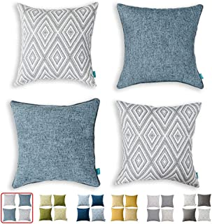 "Best HPUK Decorative Throw Pillow Covers Set of 4 Geometric Design Linen Cushion Cover for Couch Sofa Living Room, 17""x17"" inches, Blue Review"