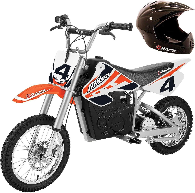 Razor MX650 Steel Electric Dirt Rocket Kids Moto Bike, orange + Helmet