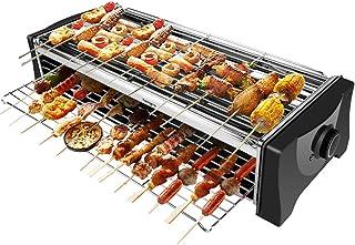 BBQ Electrique Barbecue Electrique de Table, Grill Electrique Sans Fumée, Double Étages Grill Interieur avec Bac Collecteu...