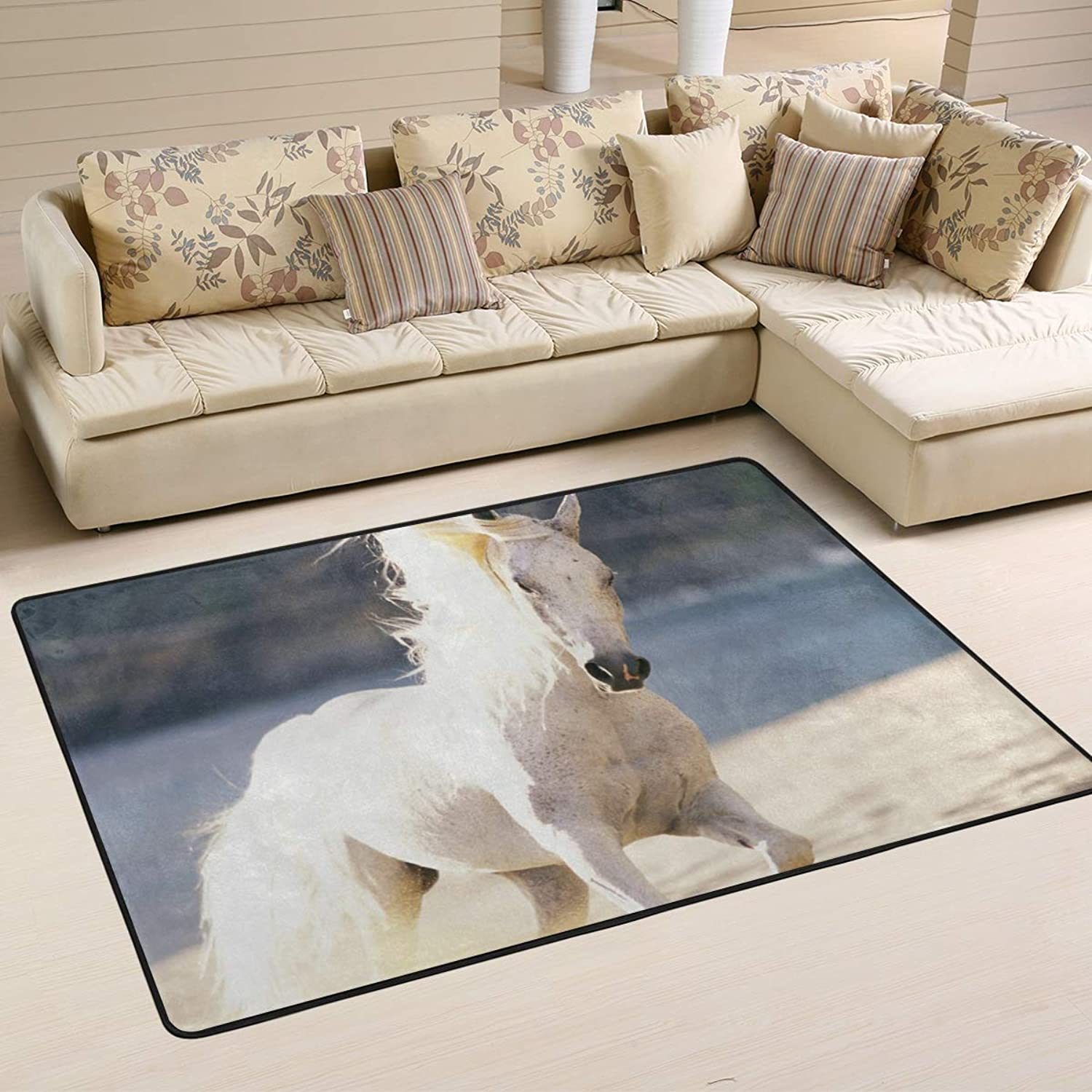 Area Rugs Doormats White Horse Soft Carpet Mat 6'x4' (72x48 Inches) for Living Dining Dorm Room Bedroom Home Decorative