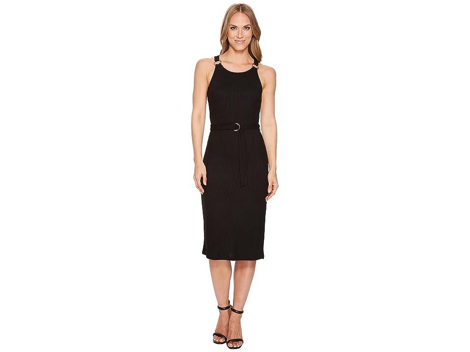 MICHAEL Michael Kors Rib Circle Trim Dress (Black) Women