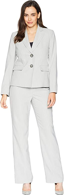 Stripe Two-Button Peak Lapel Pants Suit