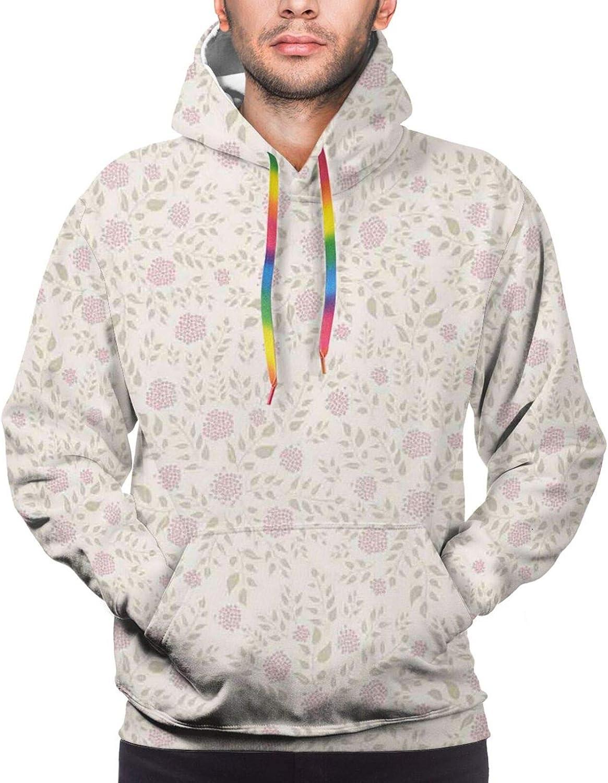 Men's Hoodies Sweatshirts,Soft Tone Romantic Bouquet Field Wedding Themed Vintage Shabby Design