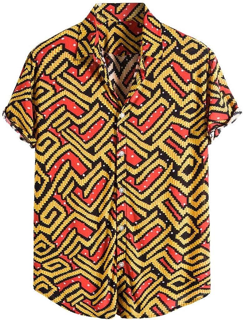 MODOQO Men's Button Down Shirt, Loose Fit Casual Short Sleeve Shirt, Casual Hawaiian Shirt for Summer