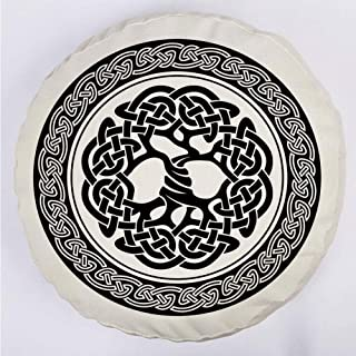 YOUWENll Round Decorative Throw Pillow Floor Meditation Cushion Seating/Native Celtic Tree of Life Figure Ireland Early Renaissance Artsy Modern Design/for Home Decoration 17